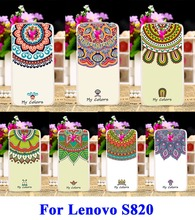 DIY Painted Hard Plastic &Soft TPU Silicon Phone Cases For Lenovo S820 Case Protection Shell Cover Colors Flowers