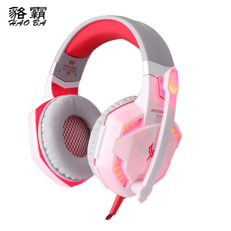 HAOBA EACH G2000 Wired Earphone Gamer PC Headphone Stereo Gaming Headphone with microphone Led For Computer each g4000 gaming headset stereo music headphone 2 2m wired headband earphone w microphone led light anti noise for computer pc