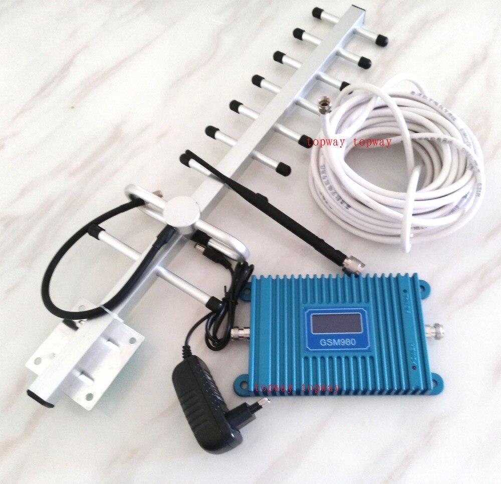 Répéteur de signal mobile GSM 900 MHZ GSM980 avec affichage LCD, amplificateur de signal GSM booster de signal GSM + 13dbi yagi 5 ensemble/lot