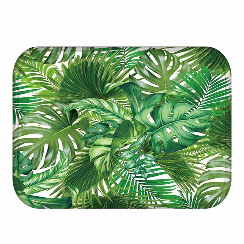 Tropical Rainfores Green Leaves Welcome Doormat Rugs Flanne Anti-slip Kitchen Bathroom Hallway Floor Mats Carpets 40x60cm