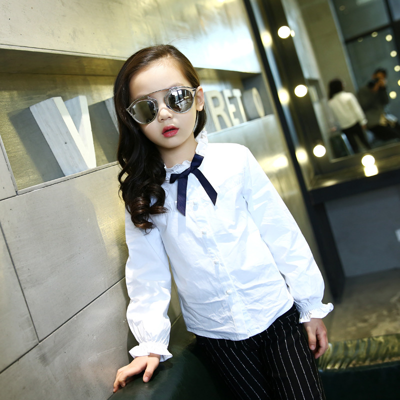 Girls' Spring  Autumn Long Sleeved Wear Children's Shirts Kids Clothing Bow White
