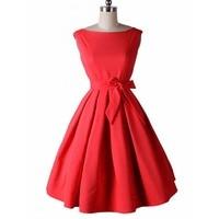 LERFEY Vestidos Women Dress Pinup Vintage 50s Retro Rockabilly Club Dress Party Dresses Sleeveless Bow Red