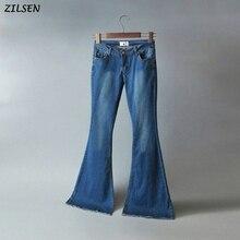 дешево!  2019 новые женские талии сексуальные джинсы классические хиппи широкие ноги Flare джинсовые джинсы  Лучш