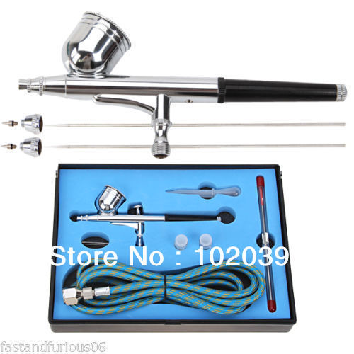 цена на 0.2+0.3+0.5mm 7cc Pro Dual Action 3-in-1 Airbrush Air Compressor Kit Spray Gun for Nail Art/ Tattoos Body Spray/ Cake Making