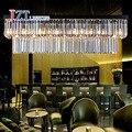 T 2016 Nueva Gran E14 LED Rectangular Colgante de Cristal de Lujo luz Creativa Moderna Lámparas de Hierro para Comedor Foyer Envío gratis
