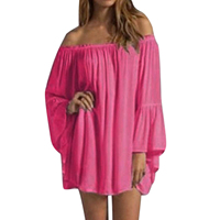 NEW Women's Sexy Summer Casual Chiffon Long Sleeve Off Shoulder Beach Mini Top Dress - dress Rose, M