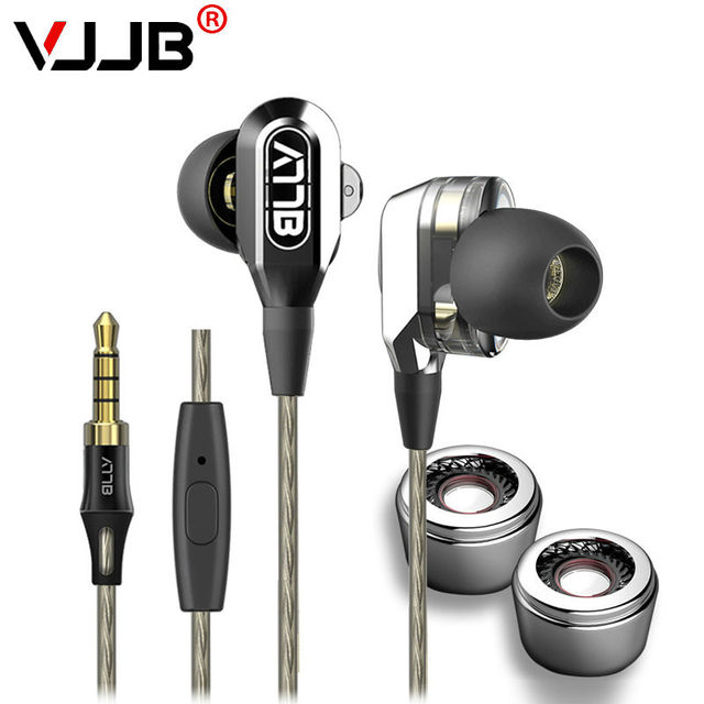 2016 Original VJJB V1 V1S Dual Driver Earphone Metal HiFi Earbuds with MIC Strong Bass High Quality Double Drive Unit