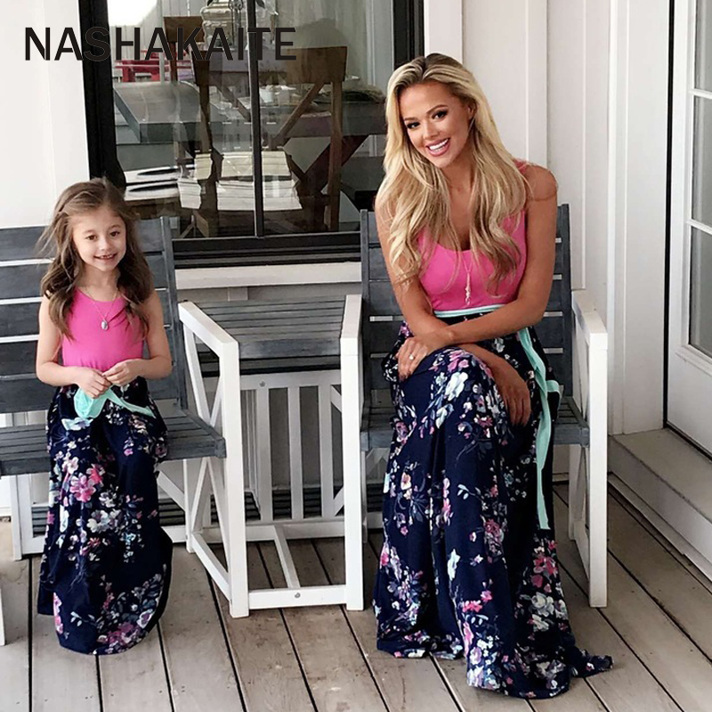HTB1twpQacfrK1RjSszcq6xGGFXaq - NASHAKAITE Mother daughter dresses Floral Printed Long Dress Mommy and me clothes Family matching clothes Mom and daughter dress