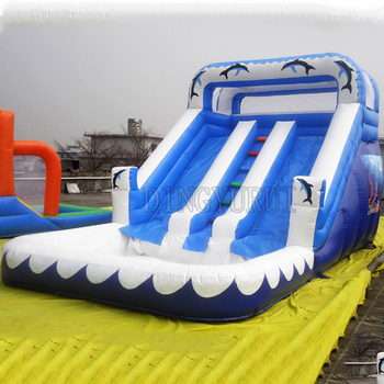 Inflatable water slide with inflatable slide with water pool combo for kids