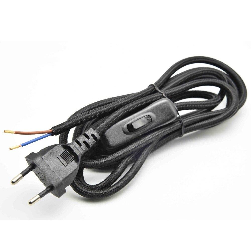 2*0.75mm2 1,8 м ЕС Plug лампы Мощность шнур с лампы выключатель плетеный провод сертифицирован VDE 304 переключатель переменного тока 250 В ткани кабель...