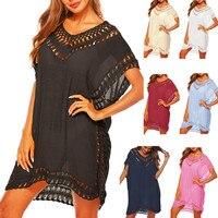 Пляжное платье-туника, женская пляжная одежда, черные шифоновые летние белые платья, купальник бикини, парео, накидка пляжная