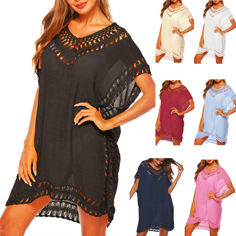 Tunic Beach Dress Crochet Knitted Cover Up For Women Black Chiffon Pareos Dresses 2020 Ladies Swim Suit Pareo Swimsuit Cover-up