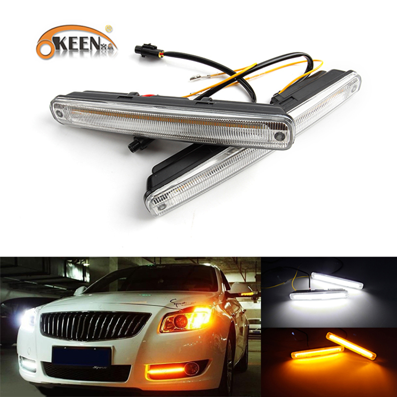OKEEN 1pair LED DRL Cars Daytime Running Light Waterproof COB White Color Day Light + Yellow Color Fog Light Turning Signal 12v 6 led white ip68 day running light for benz e series pair