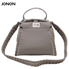 Jonon luxusmarke designer fashion frauen leder tasche handtasche gewebt sperre tote crossbody tasche umhängetasche schultergurt