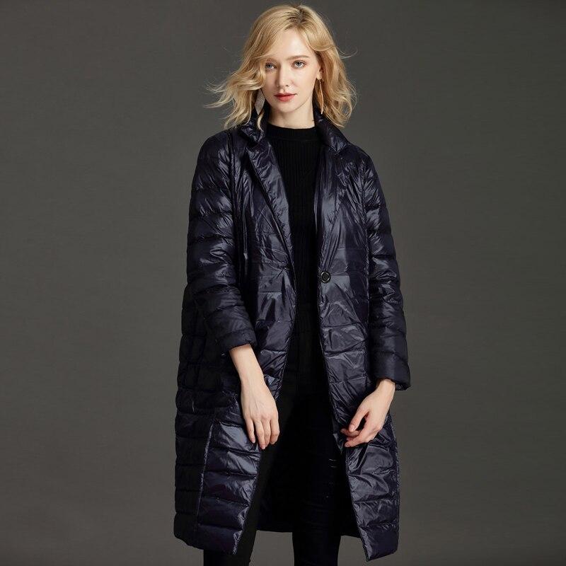 YNZZU Brand 2018 Autumn Winter Women Down Jacket Elegant Long Single Button Duck Down Coat Women's Clothing Plus Size O654
