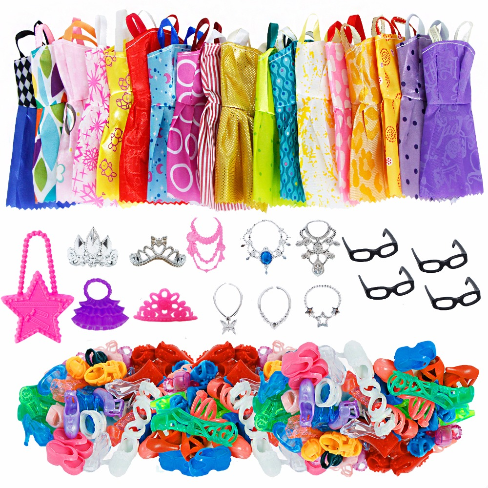 35 Item/Set Doll Accessories=10x Doll Clothes Dress +4x Glasses +6x Plastic Necklace +2x Handbag +3x Crown +10x Shoes For Barbie