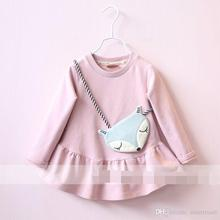 Sweet Baby Girls New Arrival Fall Ruufles Cotton Tees With Cute Fox Bag Solid Color Girls Wolesale Tees