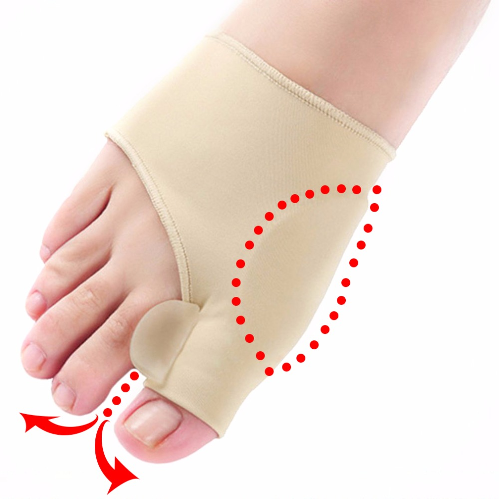 1pair Comfortable Soft Bunion Protector Toe Straightener Silicone Toe Separator Corrector Thumb Hallux Valgus Foot Brace Support