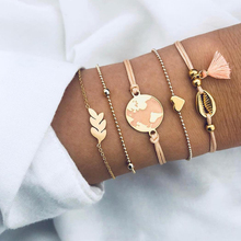 5 Pcs Women's Personality Moon Bracelets Tassel Beads Chain Charm Pendant Bracelet Women Fashion Jewelry Beautiful Accessories цены