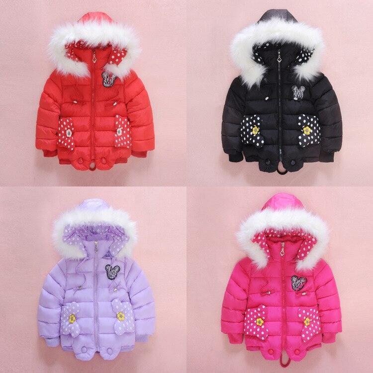 2016 Fashion Brand Baby Kids Clothing Winter Warm Cotton Padded Jacket Girls Fur Collar Hooded Mickey