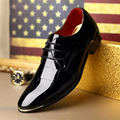 size 37-44 Korean version men oxfords Fashion pointed toe Patent Leather Lace up Business  men shoes