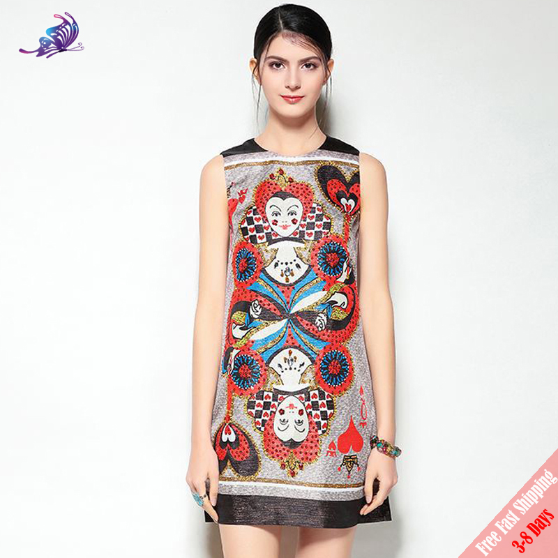 High Quality Fashion Runway Designer Dress 2018 New Womens Vintage Playing Cards Printed Sequined Short Tank Dresses Free DHL