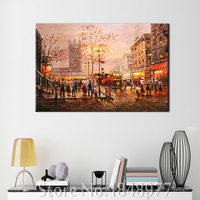 Morden Painting Abstract Cuadros Decoracion Oil Painting Paris Street Canvas Painting Wall Pictures For Living Room