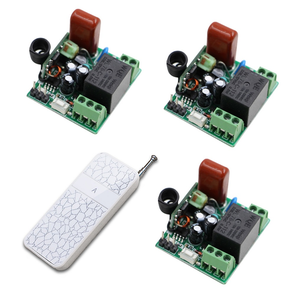 Free Shipping Small Size 220V 1CH 315/433Mhz Radio RF Wireless Remote Control Switch System 3Receiver&Transmitter Learning Code  free shipping 220v 1ch 315 433mhz radio rf wireless remote control switch system 6 receiver