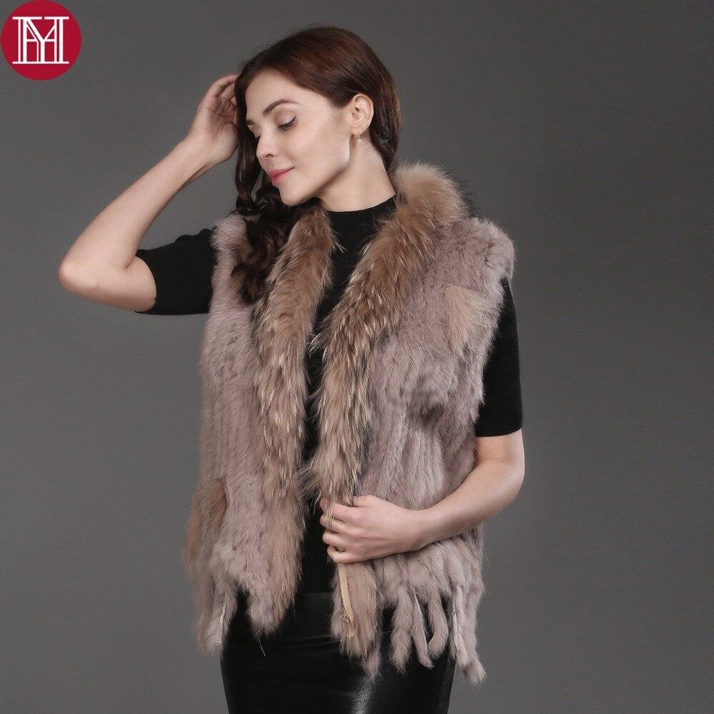 2019 ホット販売女性リアルラビットの毛皮ニット 100% 本物正規品ウサギの毛皮ジレアライグマの毛皮の襟毛皮のコート  グループ上の レディース衣服 からの 本物の毛皮 の中 1