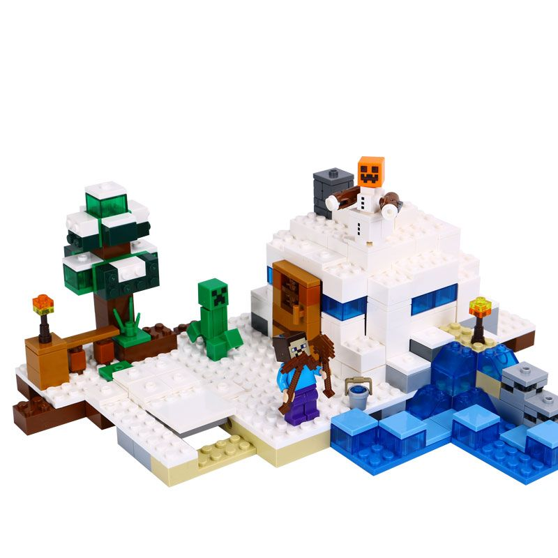 New lepin Model building kits compatible 21120 18018 my worlds MineCraft The snow hide out Educational toys hobbies for children new lepin 16008 cinderella princess castle city model building block kid educational toys for children gift compatible 71040