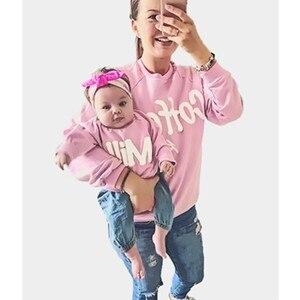 Молоко Кофе мама и я одежда 2018 Зима Хэллоуин Рождество Семья свитера толстовки на тему любви розовые наряды сестер