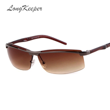 LongKeeper UNISEX Rimless Sunglasses Men Women Vintage Metal