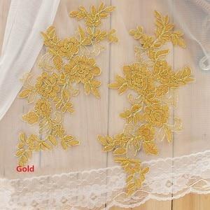 Image 5 - Colors Ganza Emboridered Corded Wedding Large Lace Applique for Bridal Dress Lace Trim Applique