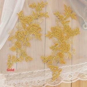Image 5 - Farben Ganza Emboridered Corded Hochzeit Große Spitze Applique für Braut Kleid Spitze Trim Applique