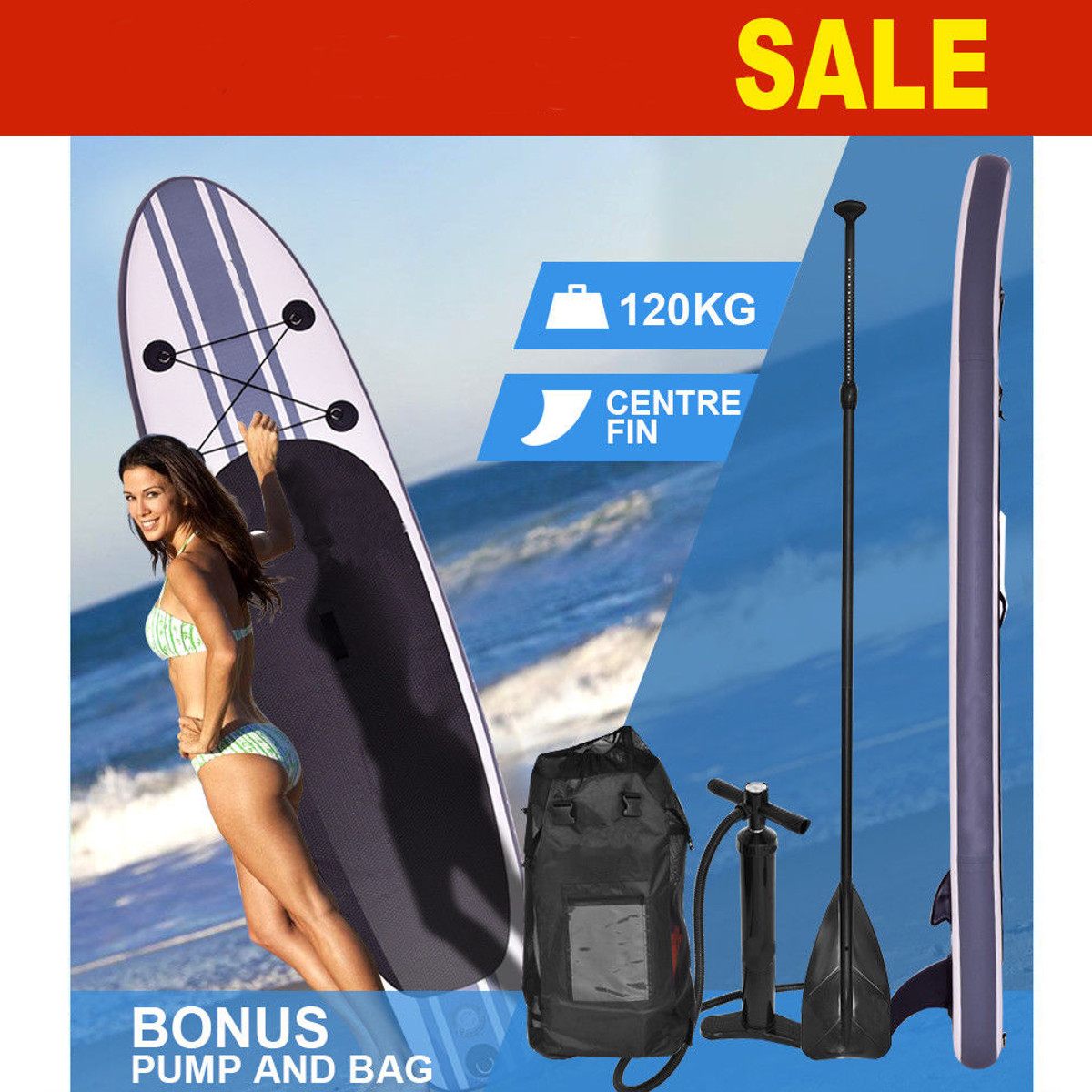 Gofun 335*76*15 cm Stand Up Paddle Surf Planche Gonflable SUP Ensemble Wave Rider + Pompe gonflable planche de surf bateau à aubes
