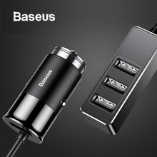 Baseus 4 USB Car Charger 5V 5A Fast Charging for iPhone iPad Samsung Xiaomi Tablet GPS Adapter Charger Car Phone Charger(China)