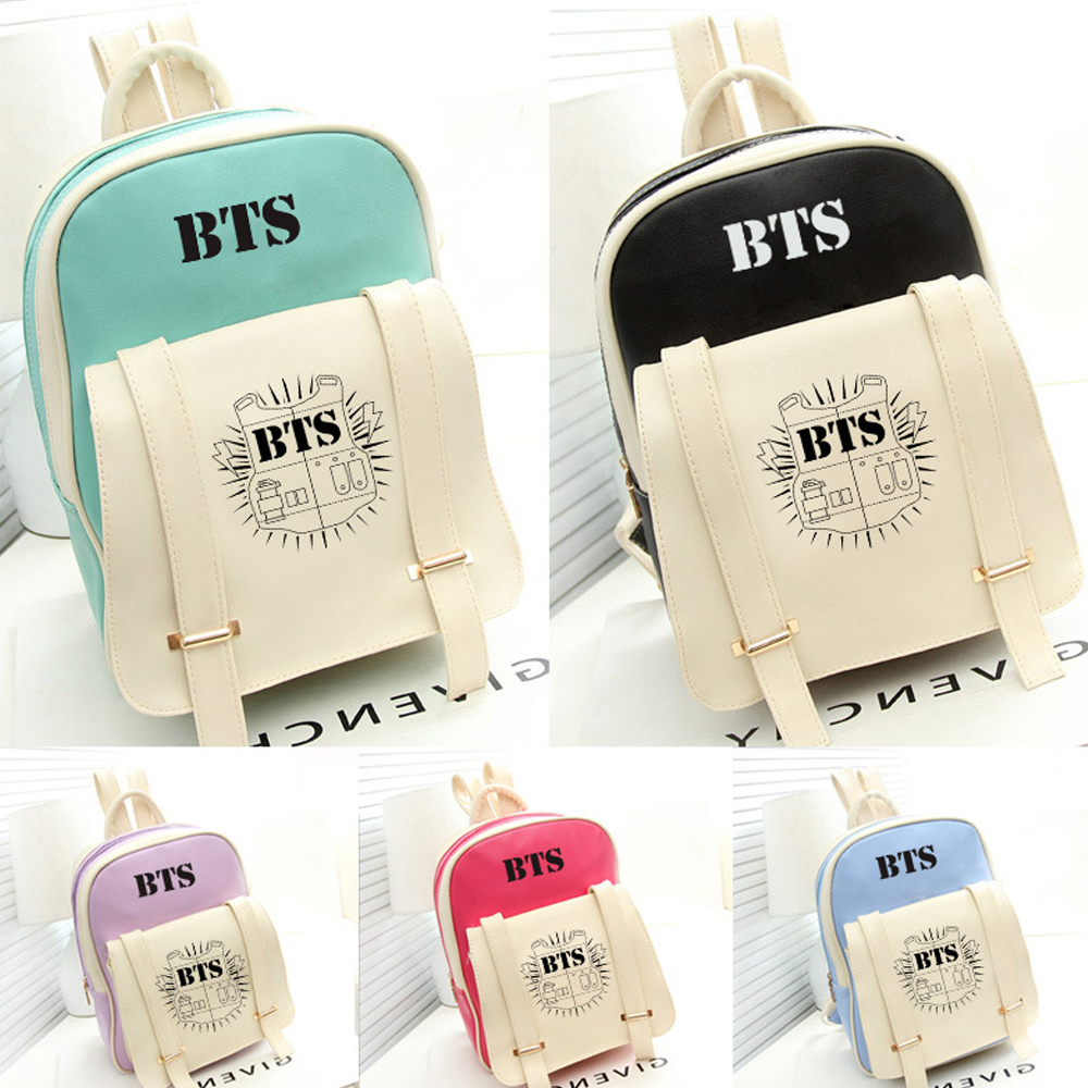 Korean Bts Pu Leather Backpack
