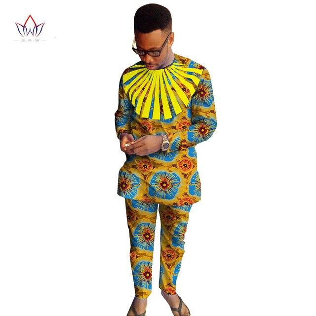 Ankara Fashions Mens Clothes Dashiki Sets Two Pieces Set Men Shirts + Pants Set for Men Slim Fit Shirts Plus Size 6XL WYN249