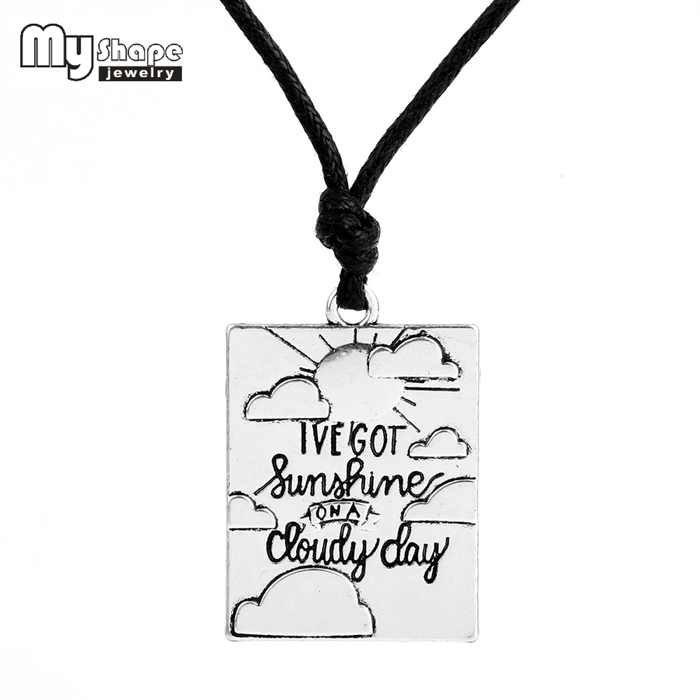 Sliver plated choker statement necklace Letter Charm For jewelry making ive got sunshine on cloudy day Christmas GIFT