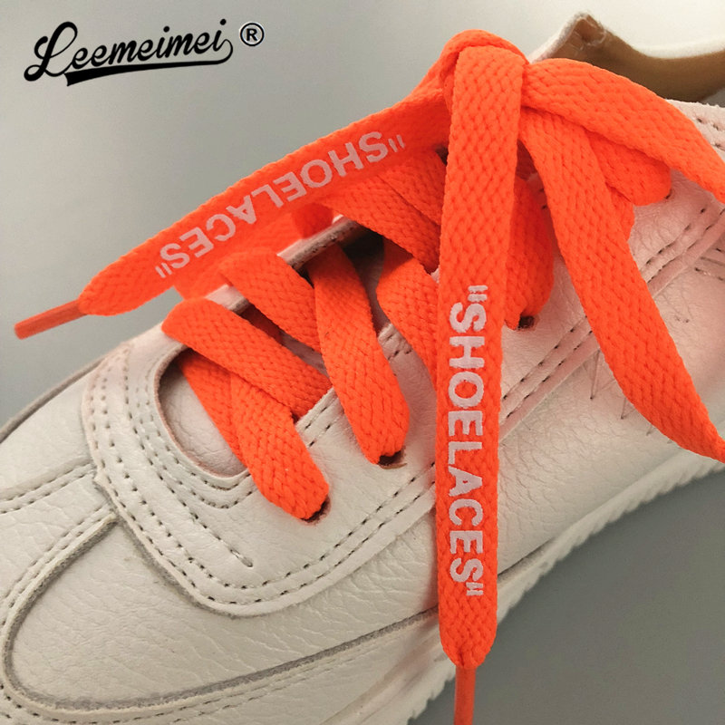 120cm Hot SHOELACES Single Layer Flat Laces Print Letter OW Shoe lace For Sneakers Boots Black White Green Orange Shoelaces letter print raglan hoodie