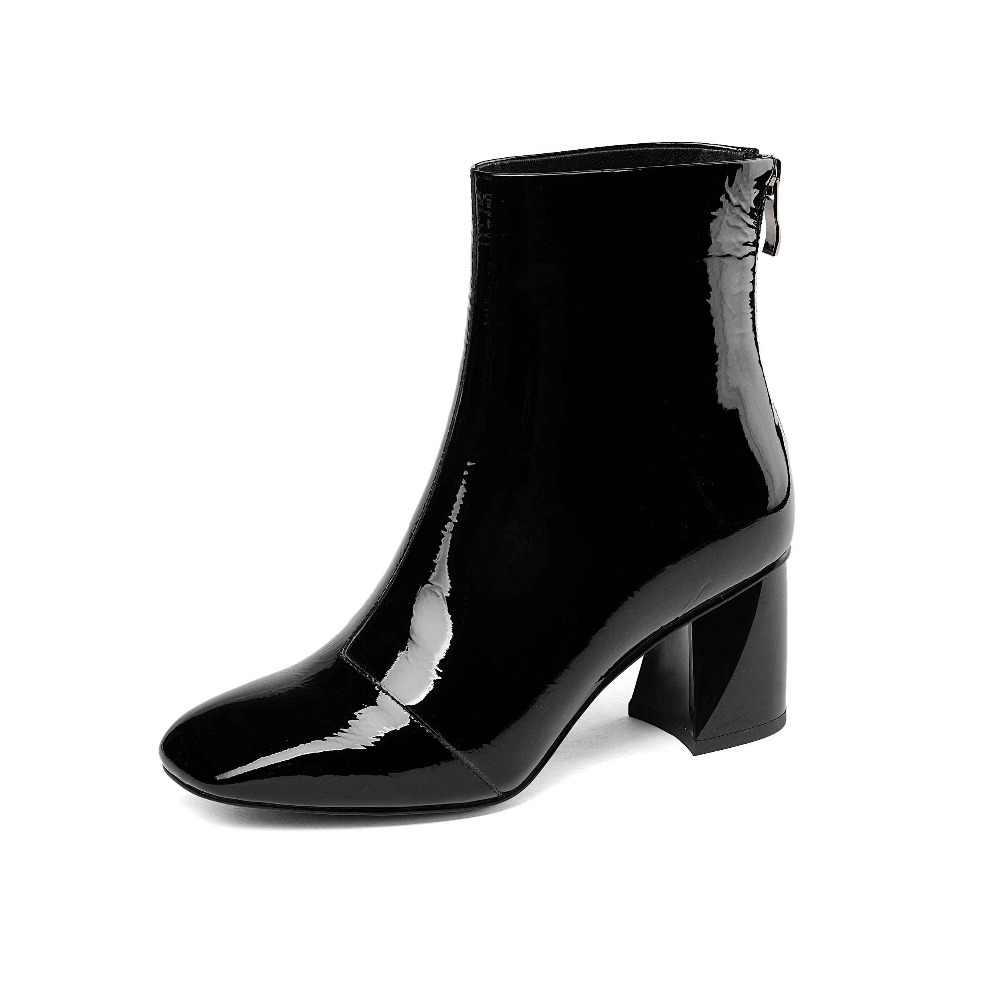 Krazing pot/2018 из коровьей кожи в европейском стиле; необычный квадратный носок, разноцветные, подиум модель для девочек, консервативный Стиль ботильоны L34