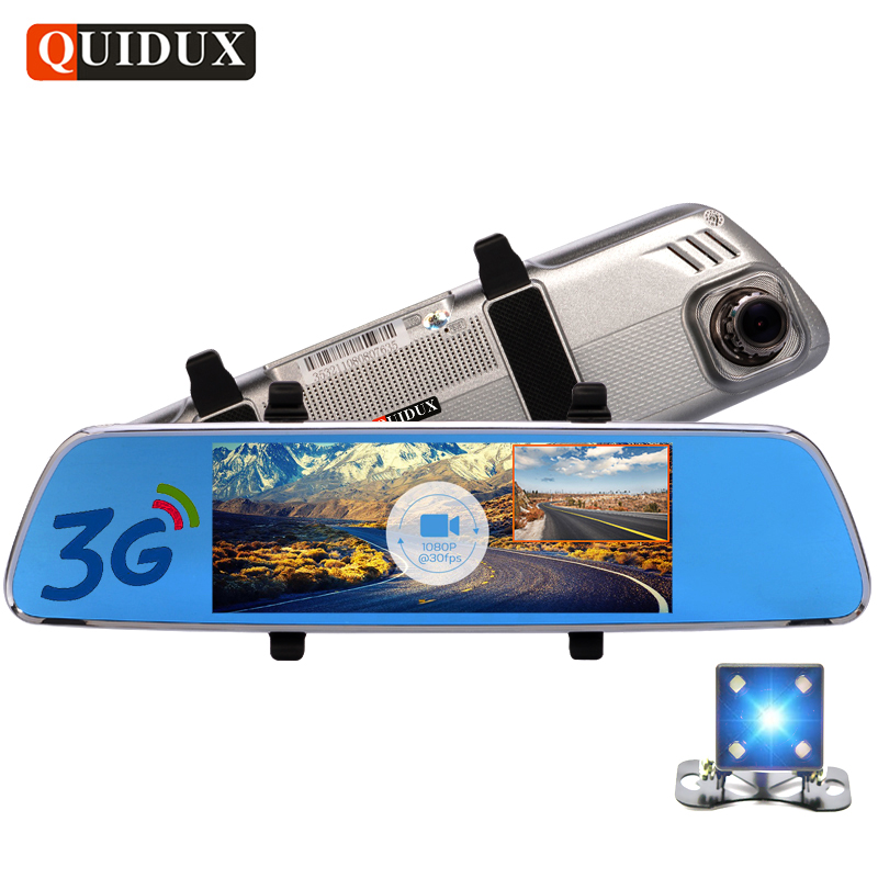 QUIDUX 7 Inch 3G Android Car Rearview mirror DVR GPS Navigator FHD 1080P video recorder Dual Lens Dash camera Reversing Ruler fashion 7 inch fhd 1080p android 5 0 3g