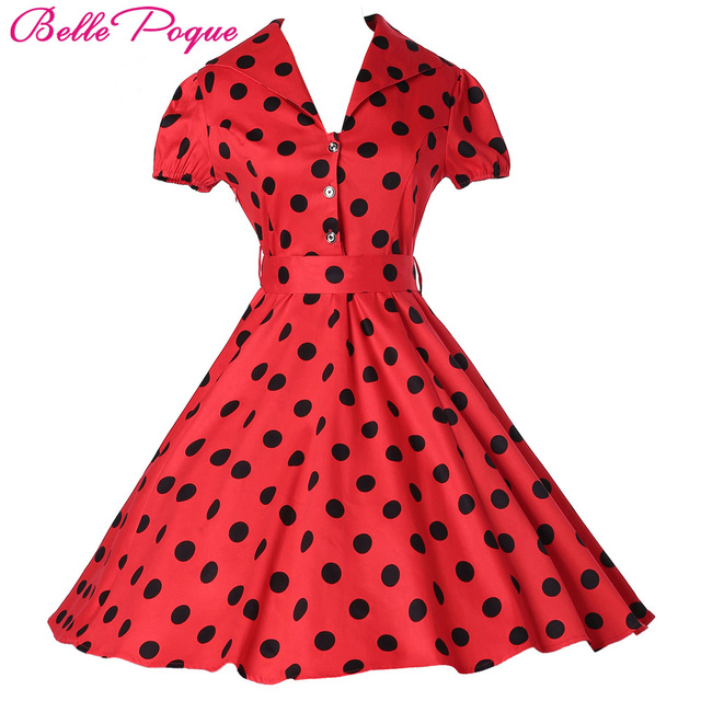 d1e61eb842d Women Summer Pin up Swing Dresses Clothing Polka Dot maggie tang Casual  Party Retro robe Rockabilly 50s Vintage Dress vestidos