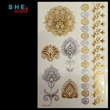 Wholesale Body Paint Glitter gold tattoo stickers Body Art Tattoo Metal temporary flash tattoos Arabic Henna Tattoo Flower Tatoo