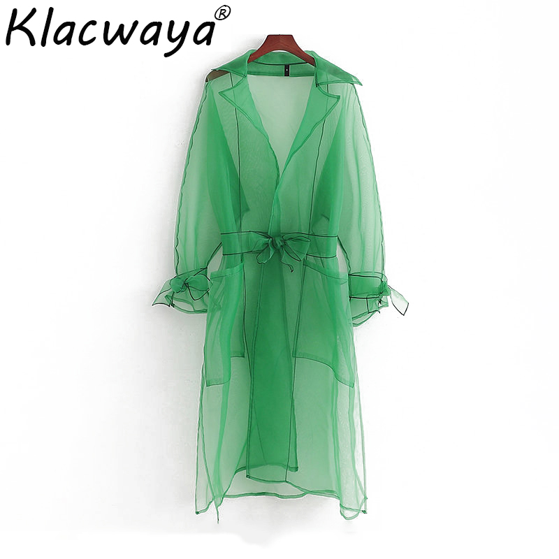 Klacwaya women green organza sun-protection dress 2019 summer beach ladies elegant transparent loose dresses girls chic vestidos