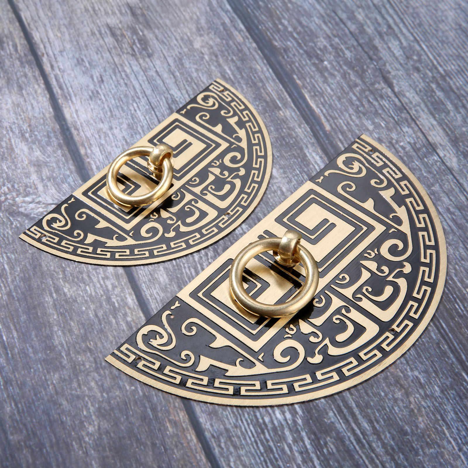 11 ซม.จีนโบราณทองเหลืองจับสำหรับเฟอร์นิเจอร์รูปแบบทองแดงบริสุทธิ์ประตูตู้ลูกบิดและมือจับยึดสกรู