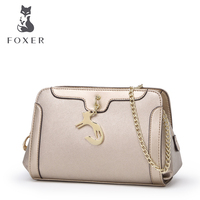 Foxer Hobos Chains Long Strap Shoulder Crossbody Cowhide Handbags Women Small Clutch Bags With Free Shipping