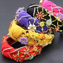 البوهيمي موضة الزهور ملفوفة شخصية الرقص عقال ملون كريستال زهرة هندسية معدنية تنوعا عقال 865