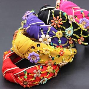Image 1 - Bohemian fashion flowers wrapped personality dance headband Colorful crystal flower geometric metal versatile headband 865
