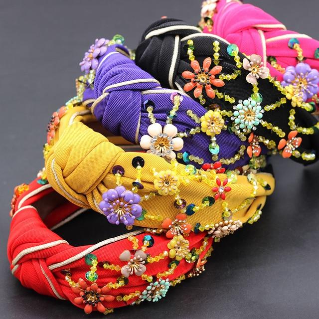 Bohemian fashion flowers wrapped personality dance headband Colorful crystal flower geometric metal versatile headband 865